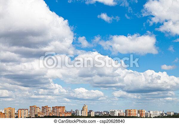 cidade, nuvens, verão, muitos, sobre, woolpack - csp20628840