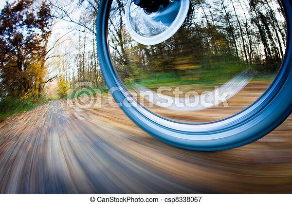 cidade, parque bicicleta, autumn/fall, montando, encantador, dia - csp8338067