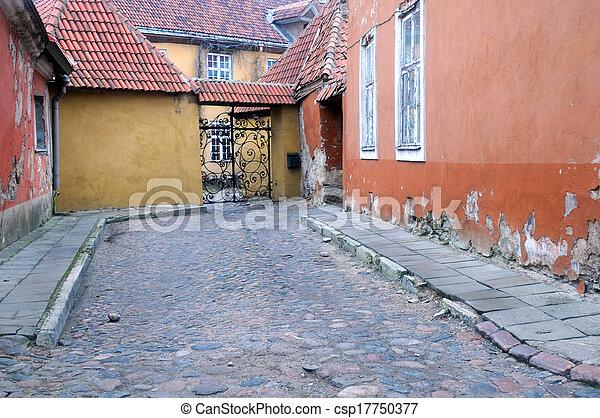 cidade, pista, antigas, medieval, tallinn - csp17750377