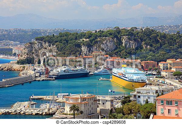 cidade, porto, navios, france., iates, cruzeiro luxo, agradável - csp4289608