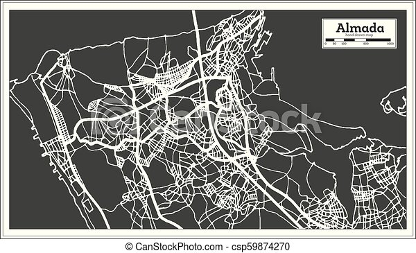 Cidade Portugal Mapa Almada Retro Style Cidade Esboco