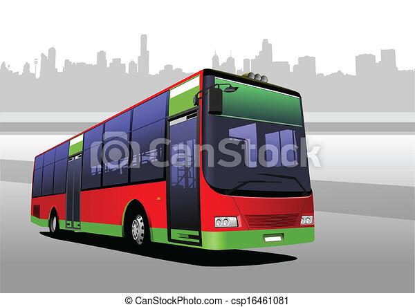 cidade, red-green, vetorial, bus., coach. - csp16461081