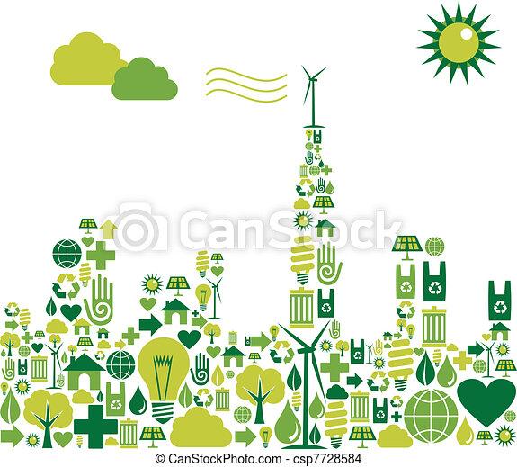cidade, silueta, verde, ambiental, ícones - csp7728584