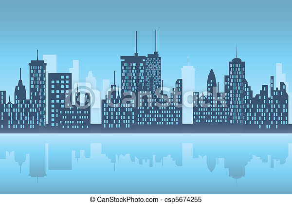 cidade, skyscapers, noturna - csp5674255