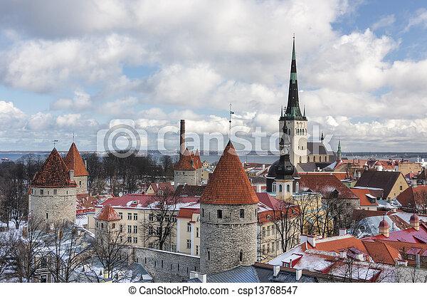 cidade, tallinn, antigas, estónia - csp13768547