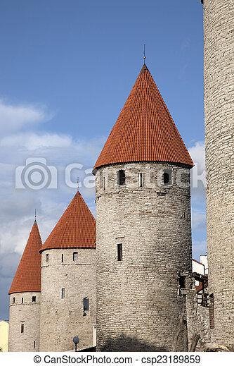 cidade, tallinn, paredes - csp23189859