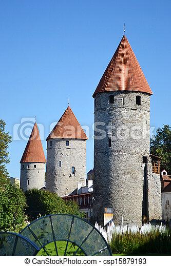 cidade, torres, tallinn, parede - csp15879193