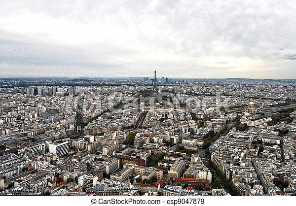 cidade, vista aérea, frança, montparnasse, paris:, agradável - csp9047879