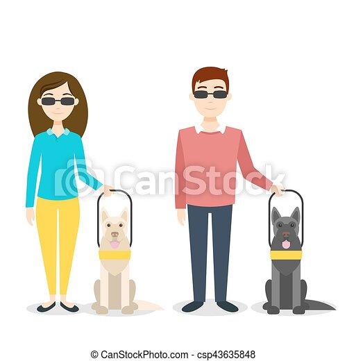 cieco, vettore, person., illustrazione - csp43635848