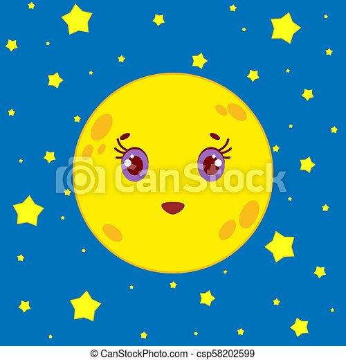 Ciel étoilé Lune Fond Nuit Dessin Animé
