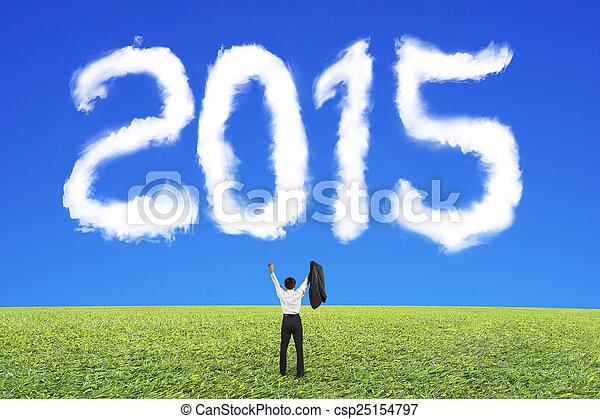 ciel bleu, applaudissement, forme, 2015, homme affaires, herbe, nuage - csp25154797