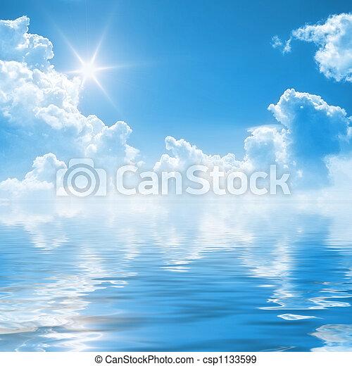 ciel bleu, fond - csp1133599