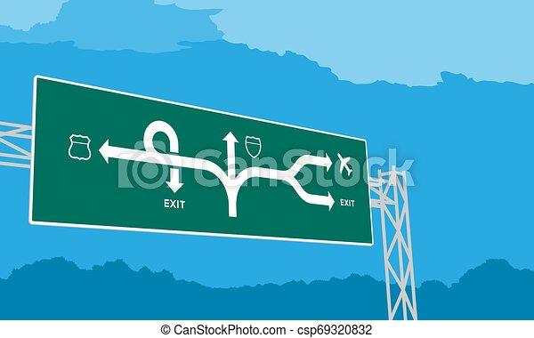 ciel bleu, isolé, journée, autoroute, vert, illustration, fond, signage, ou, autoroute - csp69320832