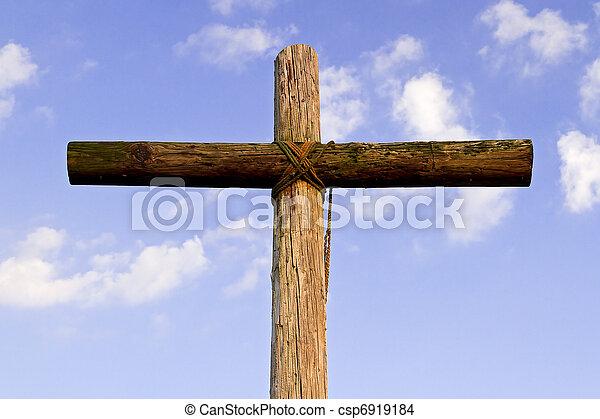 ciel bleu, vieux, accidenté, croix - csp6919184