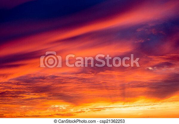 ciel coucher soleil - csp21362253
