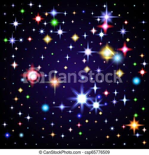 ciel, illustration, space., étoiles, nuit, briller - csp65776509