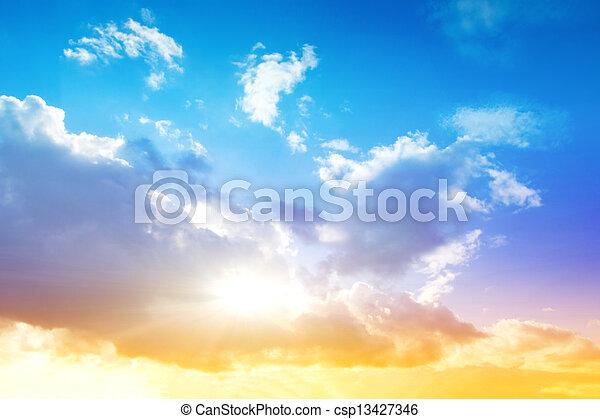 ciel, lever soleil coloré - csp13427346