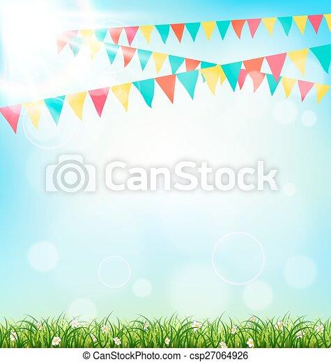 ciel, lumière soleil, buntings, fond, herbe, célébration - csp27064926