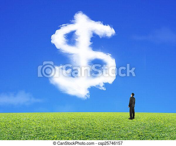 ciel, signe dollar, regarder, forme, homme affaires, herbe, nuage - csp25746157