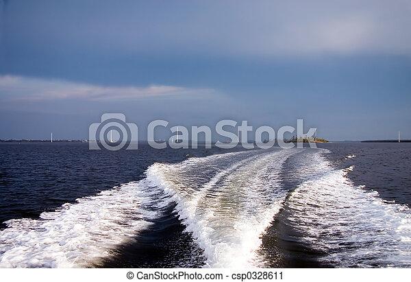 ciel, sillage, bateau, orageux - csp0328611