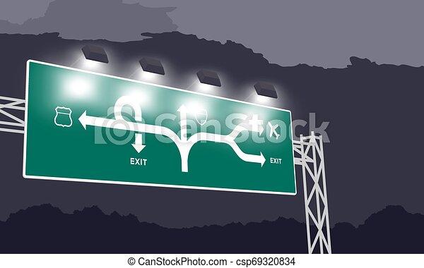 ciel sombre, nuit, isolé, illustration, autoroute, arrière-plan vert, signage, ou, autoroute - csp69320834