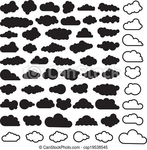 ciel, vecteur, nuages, dessin animé, collection - csp19538545