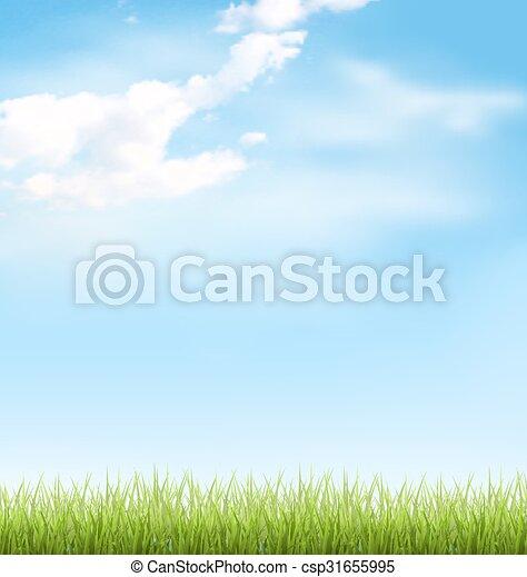 Hierba con nubes en el cielo azul - csp31655995