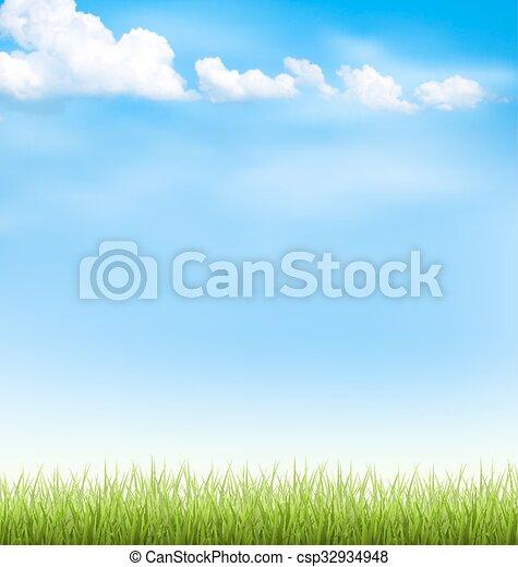 Hierba con nubes en el cielo azul - csp32934948