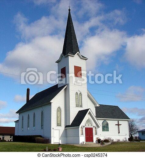 cielo azul, iglesia - csp0245374