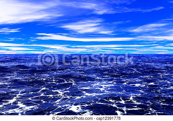 Mar azul y cielo - csp12391778