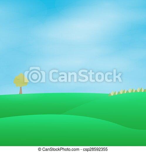 Paisaje verde con cielo azul - csp28592355