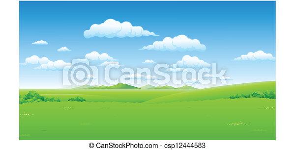 Paisaje verde con cielo azul - csp12444583