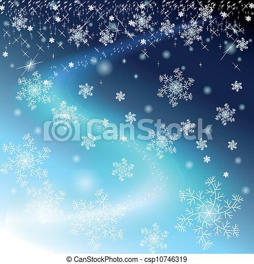 cielo blu, inverno, stelle, fiocchi neve - csp10746319