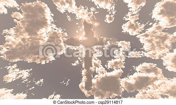 cielo, colorido, nube, cruz - csp29114817