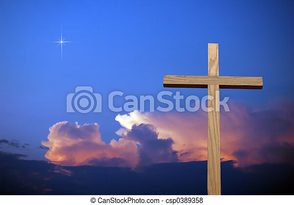 cielo, cruz, colorido - csp0389358
