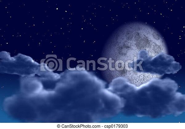 cielo, noche - csp0179303