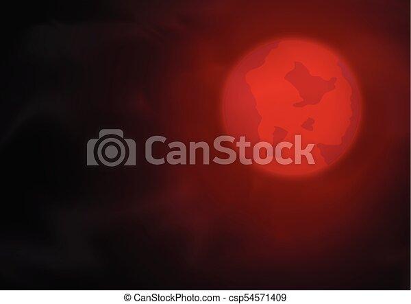 Cielo Rosso Di Notte.Cielo Notte Rosso Luna Cielo Illustrazione Luna Vettore Rosso