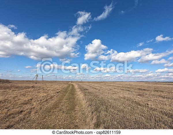 cielo, nubes, azul, paisaje., blanco, encima, farmland. - csp82611159