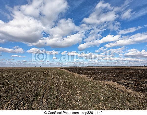 cielo, nubes, azul, paisaje., blanco, encima, farmland. - csp82611149