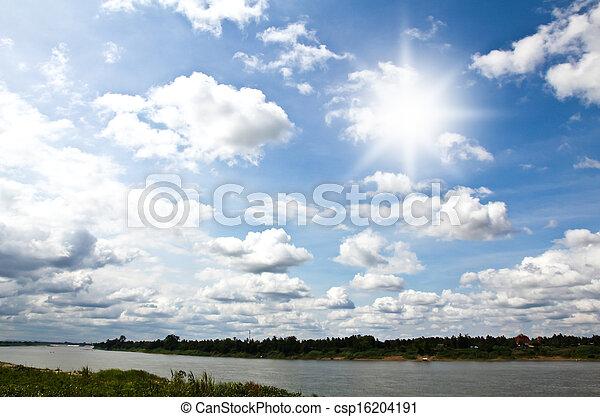 cielo, nubi, sole - csp16204191