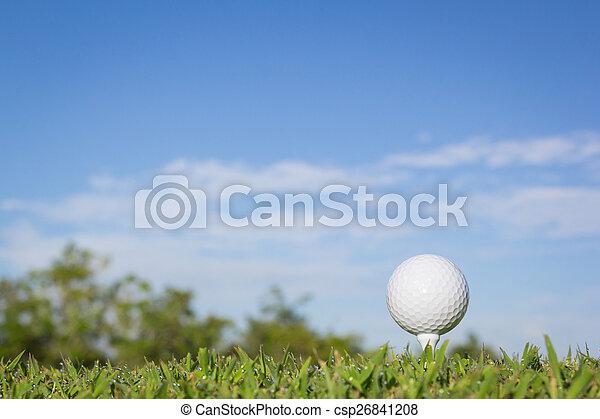 Bola de golf en un tee con fondo del cielo - csp26841208