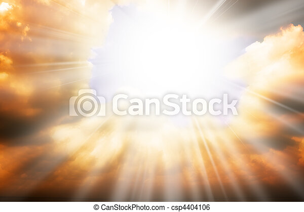 cielo, sol, -, rayos, religión, concepto, cielo - csp4404106