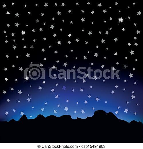 cielo stellato, paesaggio, montagna - csp15494903