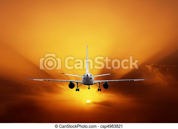 cielo, tramonto aeroplano - csp4983821