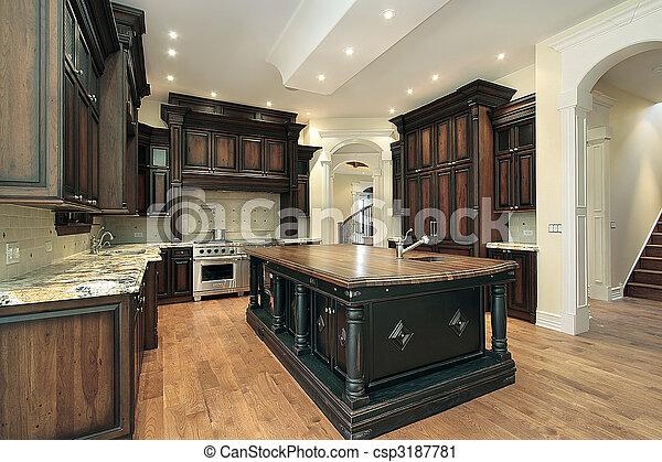 ciemny, cabinetry, kuchnia - csp3187781