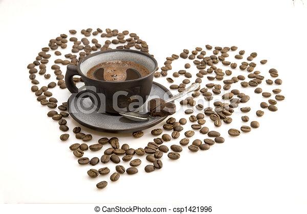 ciemny, filiżanka do kawy, rano - csp1421996