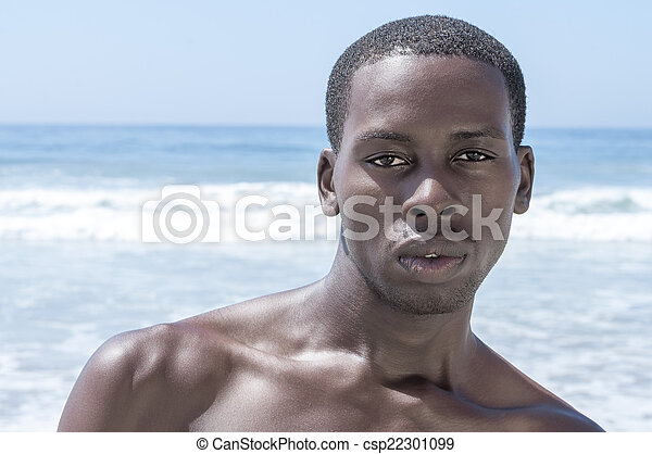 ciemny, lato, plaża, stadnina, przystojny - csp22301099
