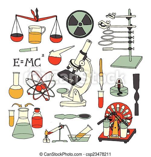 Iconos De Dibujos De Ciencia La Quimica De La Ciencia Y La Fisica