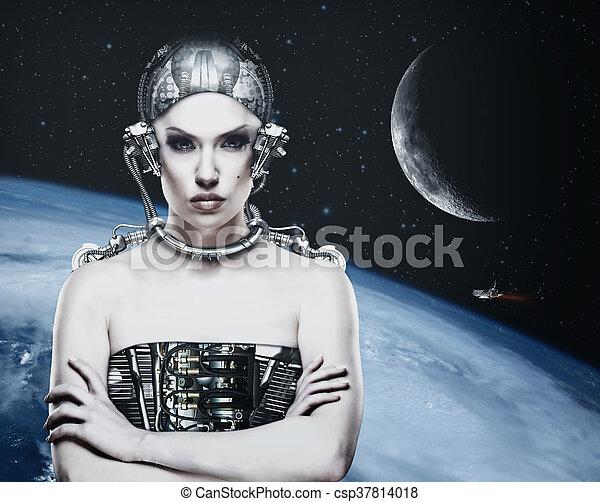 Mujer Cyborg, ciencia abstracta y fondo tecnológico - csp37814018