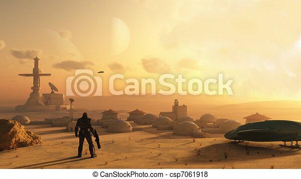 ciencia ficción, desierto, aldea - csp7061918